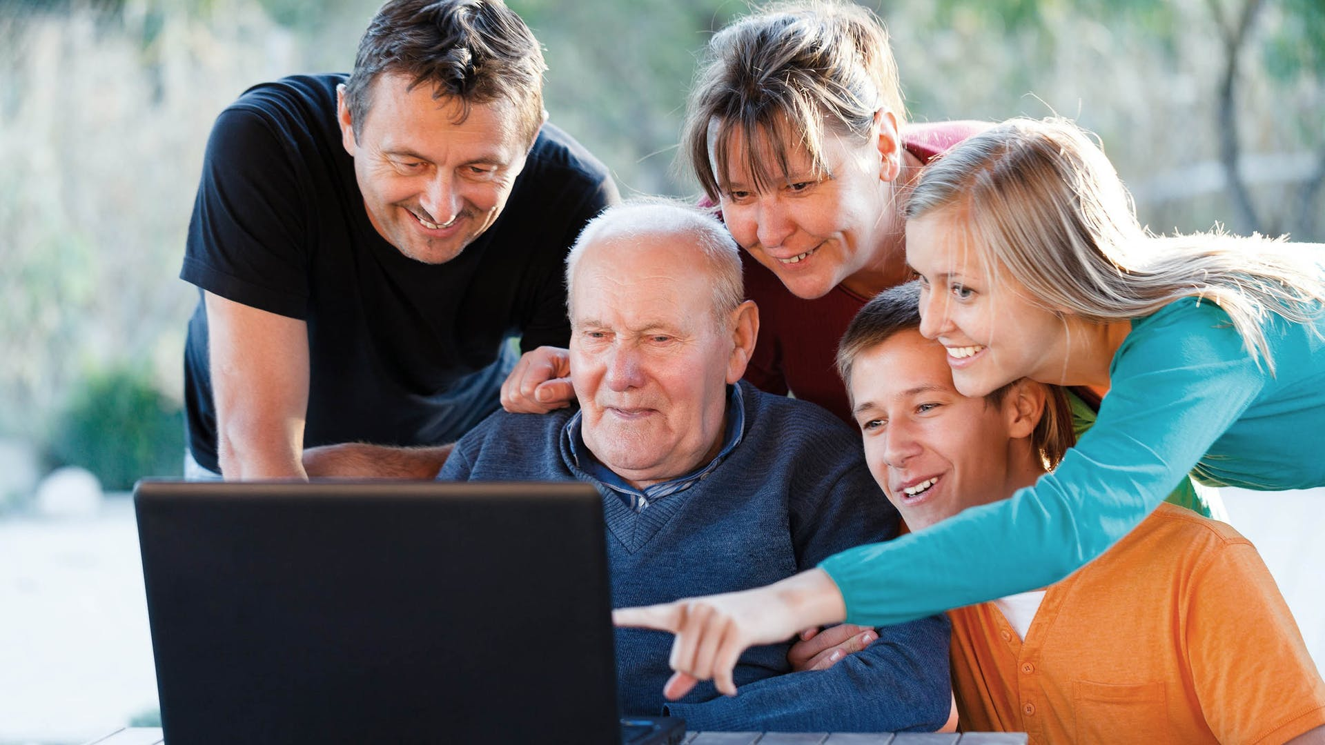 Family with parents and grandparents