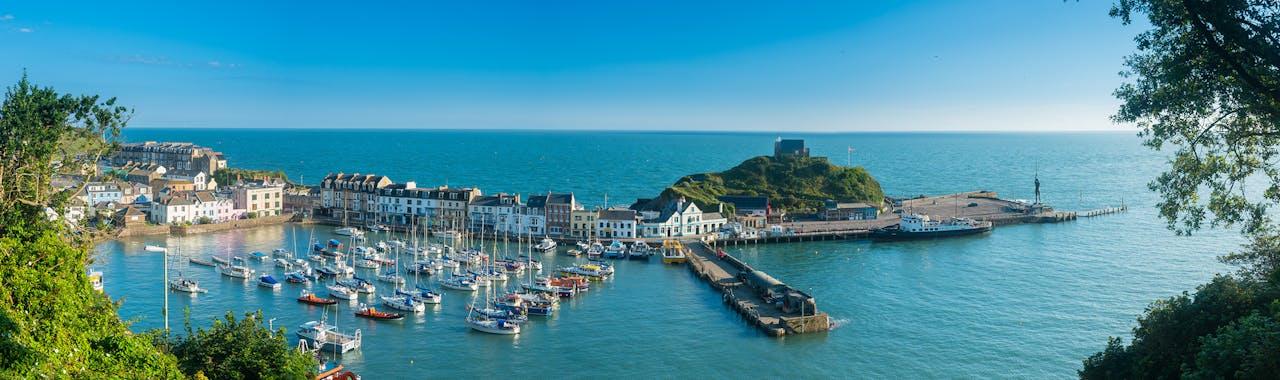 Devon, Ilfracombe Harbor across the picturesque town.