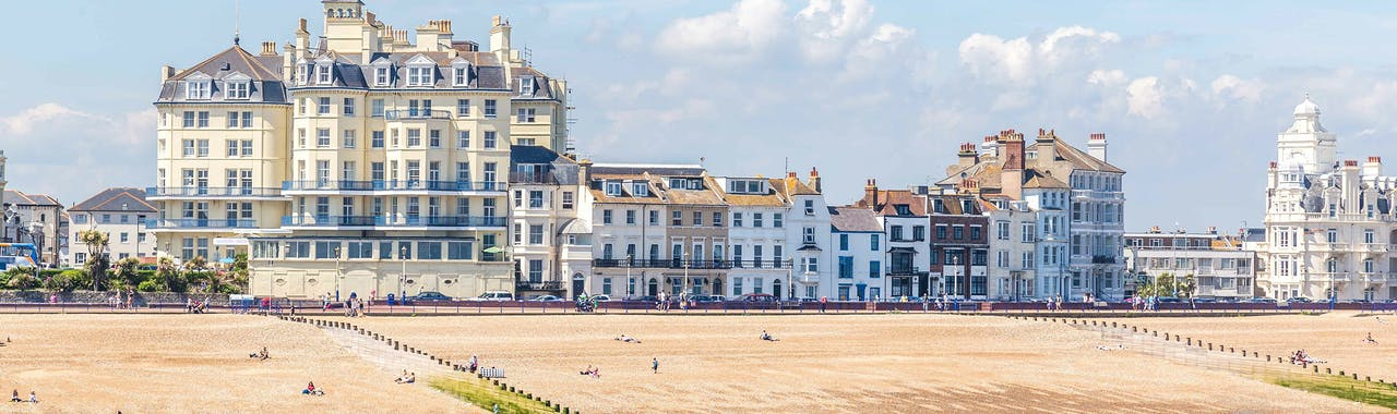 East Sussex, pier on the skyline of Eastbourne, Sussex