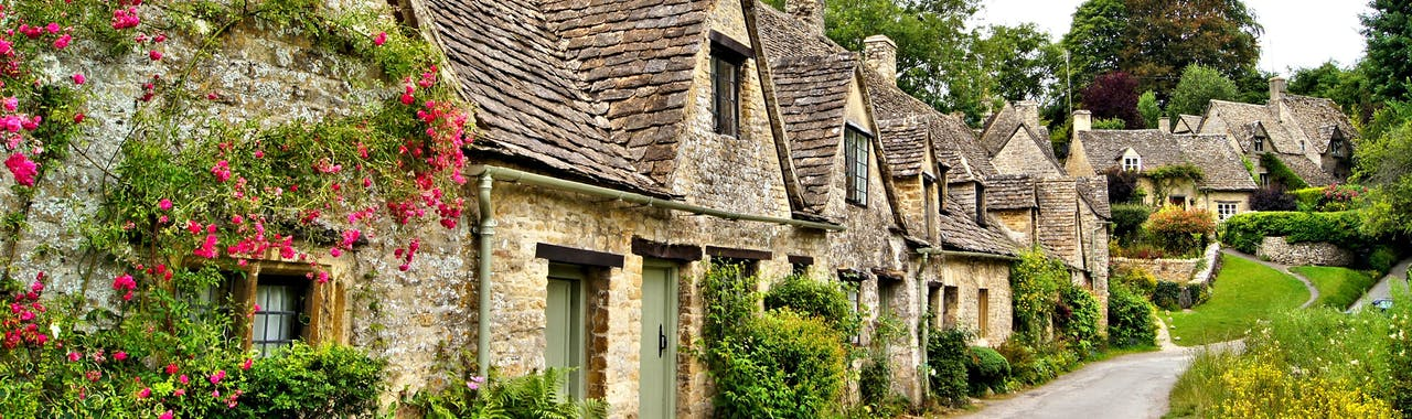 Gloucestershire, Houses of Arlington Row in the village of Bibury