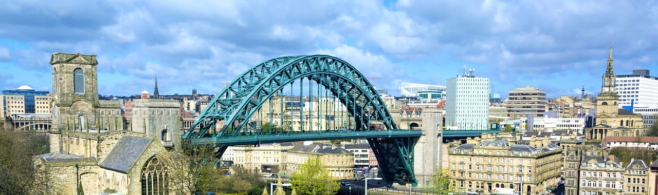 Tyne-and-Wear, The Tyne Bridge at Newcastle from the Sage in Gateshead