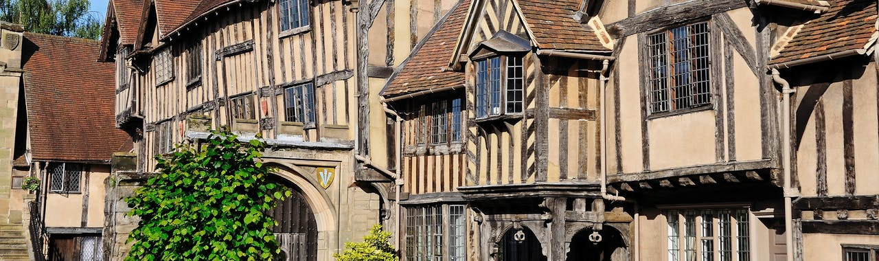Warwickshire, Lord Leycester Hospital along the mainly fourteenth century High Street, Warwick